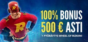 Rizk nettibonus 500 euroa ilmaista pelirahaa