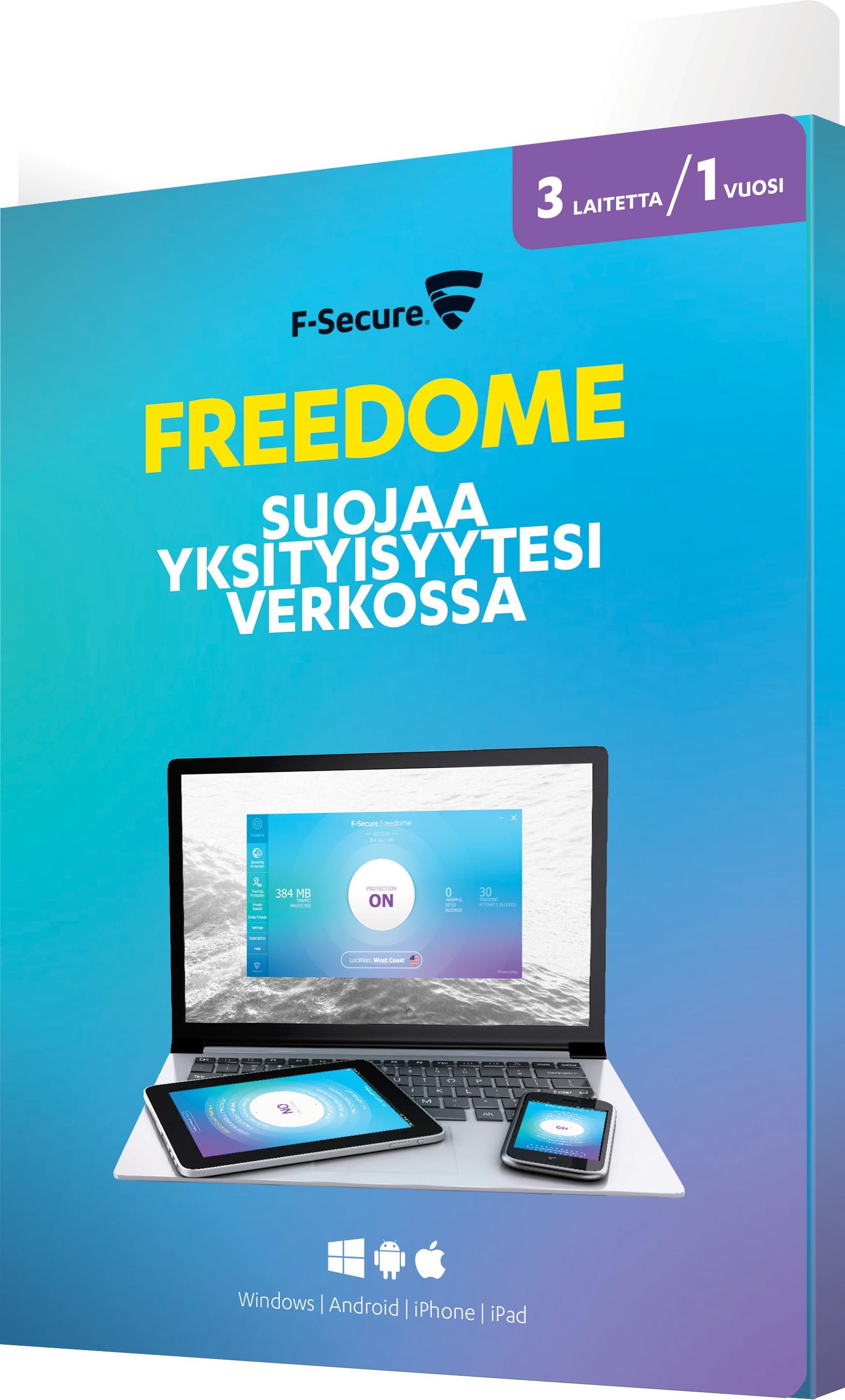F-Secure Freedome - VPN - kaikki laitteet - 3 laitetta / 12 kk ‐yksityisyyden su